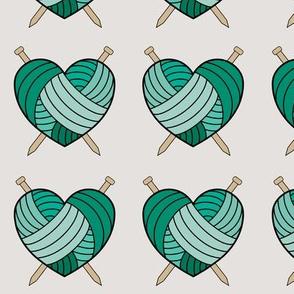 Knitting hearts - green
