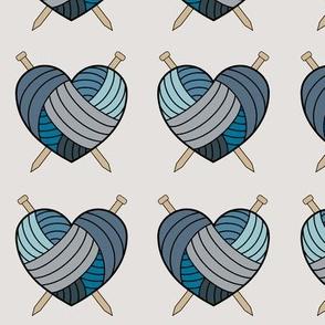 Knitting hearts - blue