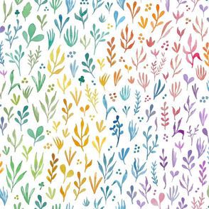 Watercolor Rainbow Botanicals - larger scale