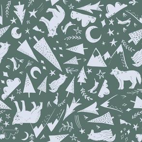 Night Forest - green grey