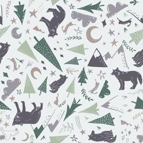 Night Forest - light multi grey