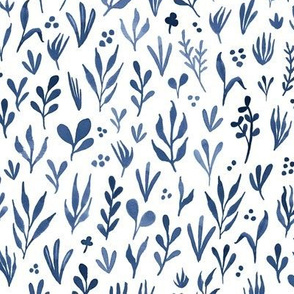 Watercolor botanicals - indigo blue