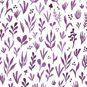 Watercolor botanicals - plum purple