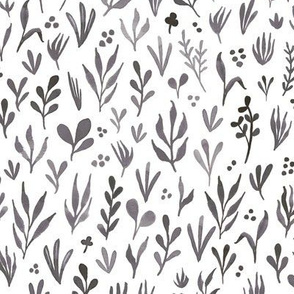 Watercolor botanicals - grey