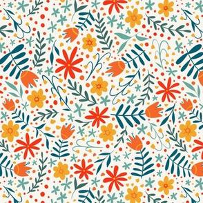 Bright folk floral - light background - smaller scale