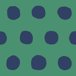 Jumbo Dots in kelly/navy