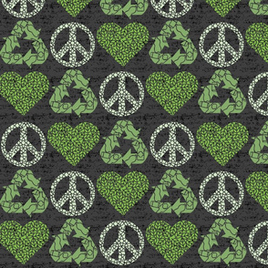 Peace. Love. Recycle. | Green - dark