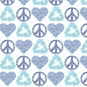 Peace. Love. Recycle. | Blue