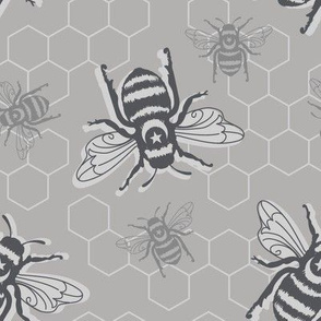 Honey Bees - grayscale