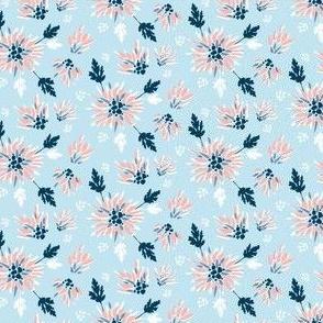 Chrysanthemums Pink on Light Blue