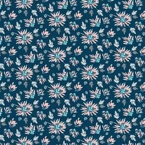 Ditsy Chrysanthemums on Navy Blue