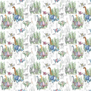 Line Art Safari on White Small