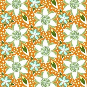Geometric Floral in Orange, Green