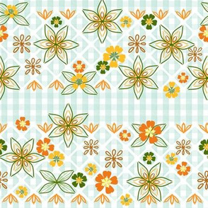 Gingham Floral Embroidery in Citrus Colors