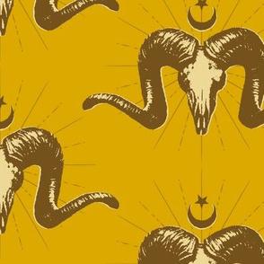Merino Skulls - mustard