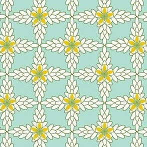 Floral Lattice in Teal, Yellow, White