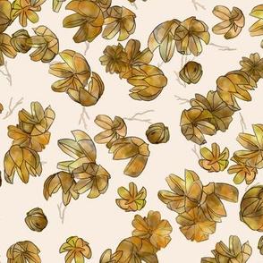 Crepe myrtle flower husks on off white