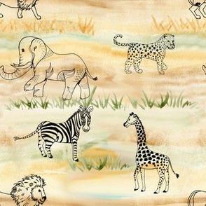 safari line art pattern