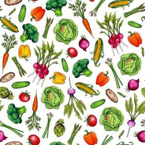 Spring Vegetable Garden - Colorful Ditsy Veggies