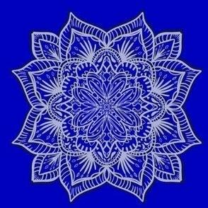 Paper Cut Blue Mandala