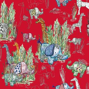Line Art Safari on Red Large