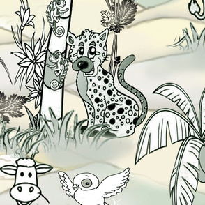 Wildlife line drawing  green Jungle story