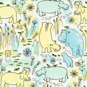 hippo safari ink and pen / large scale / pastel green, blue and yellow