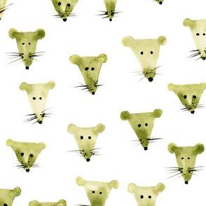 Khaki mice - watercolor mouse design