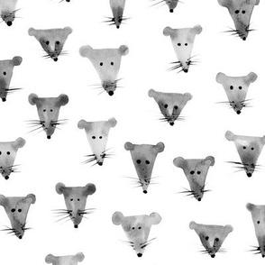 Nice grey mice - watercolor mouse pattern for modern nursery, kids
