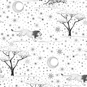 Star Safari hand drawn with big cats tiger, lion, and cheetah in jungle sun and moon night sky black and white wallpaper, unisex nursery,  kids home decor, 6 inch home decor,