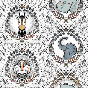 Safari pattern with leopard & giraffe & elephant