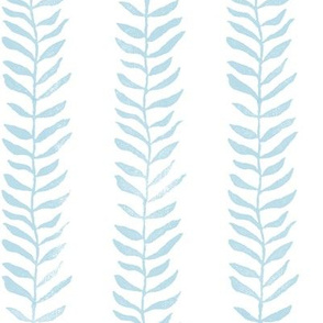 Botanical Block Print in Turquoise (large scale) | Leaf pattern fabric in duck egg blue, blue green garden decor.