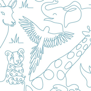 Safari Animals Line Art blue large scale
