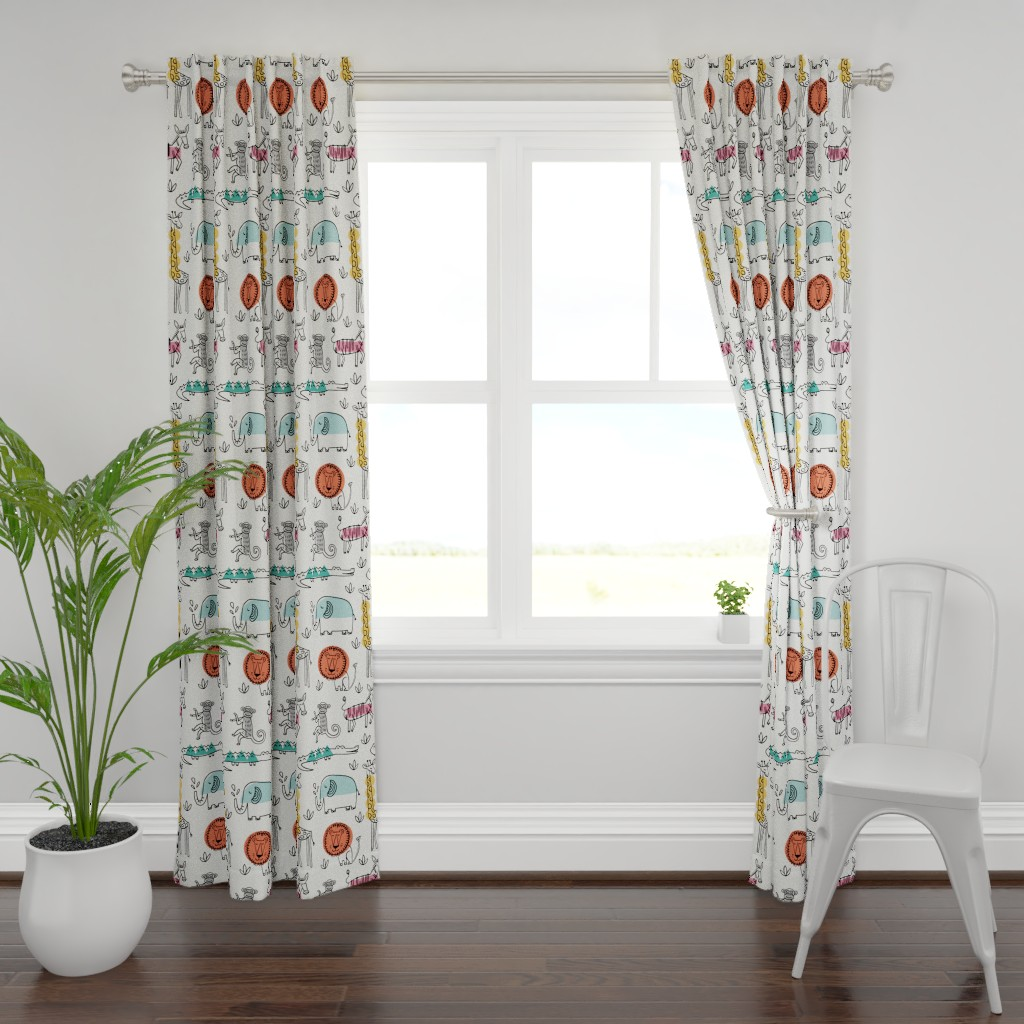 Plymouth Curtain Panel featuring Animals on Safari by mumbojumbo