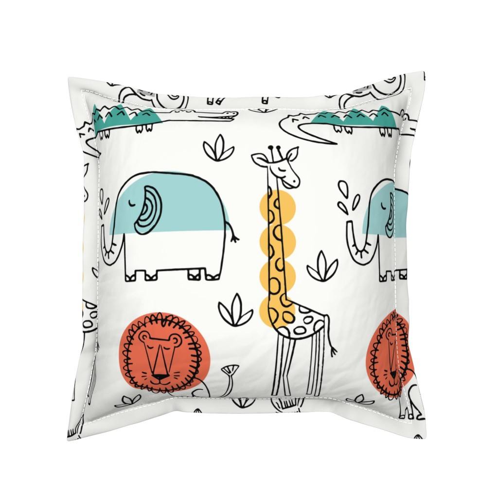 Serama Throw Pillow featuring Animals on Safari by mumbojumbo
