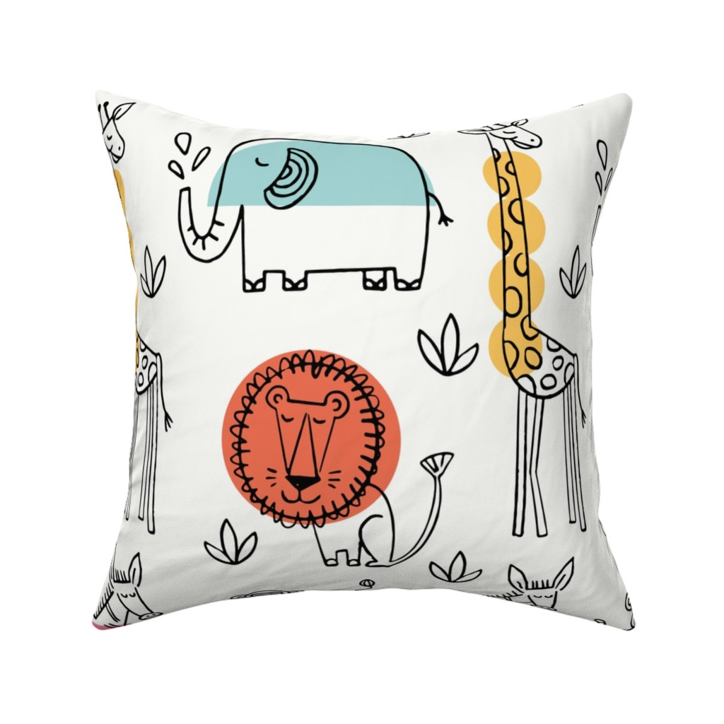 Catalan Throw Pillow featuring Animals on Safari by mumbojumbo