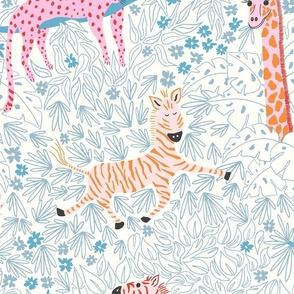 Whimsical safari/blue line work/jumbo