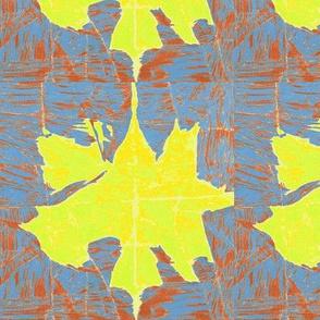 Large Yellow Leaf -Gray Denim and Rust -basic