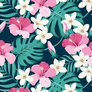 Tropical leaves with hibiscus - navy