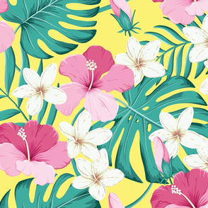 Tropical leaves with hibiscus - pink