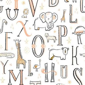 Vintage Safari Line Art Alphabet Nursery Print // Lion, Tiger, Bear, Giraffe, Crocodile, Elephant, Cheetah, Ostrich, Hippo, Flamingo, Rhino // African Animals // Textured Letters // © ZirkusDesign