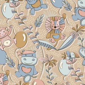 Balloon safari / nursery / Jumbo scale / Wallpaper