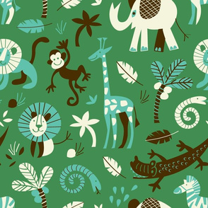 safari animals | green
