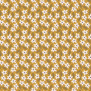 Mustard flowers // Summer girls fabric // Earth tone