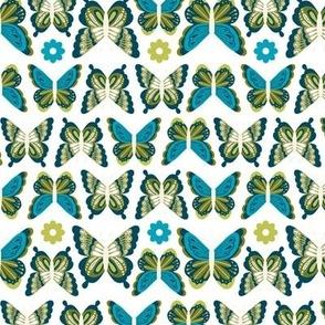 Happy Spring Butterflies - Blue Green