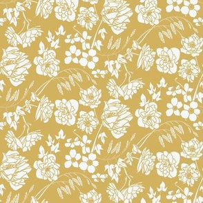 Art Deco Style Floral in Mustard Yellow, White
