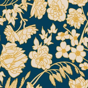 Large Scale Floral in Indigo, Yellow