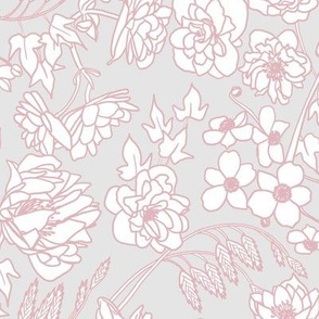 Floral Line Art in Gray, Pink
