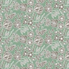 Floral Line Art in Green, Gray