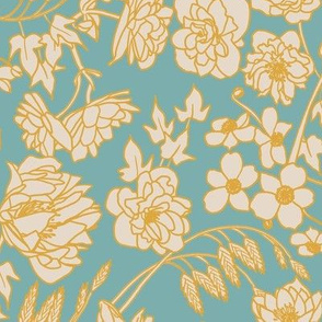 Large Scale Floral in Blue, Yellow